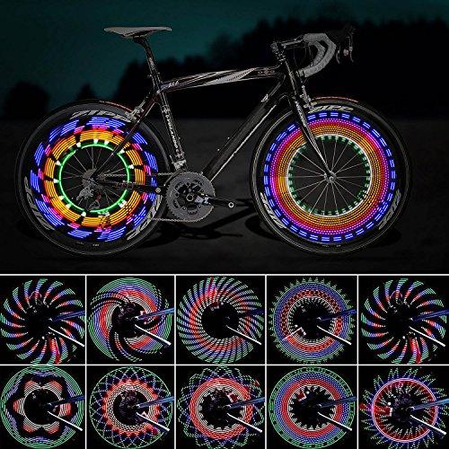 Luces para Rueda de Bicicletas, ZeWoo Led para radios de bicicleta impermeables 16 LEDs 32 cambios de patrón diferente montar al aire libre