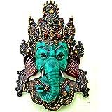 """15 """"Escultura tibetana Ganesha Wall - dios hindú Ganesh decoración de la pared Máscara colgantes, Yoga Meditación buena suerte de montaje en pared Arcilla Arte"""