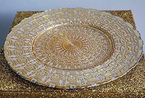 Motif aztèque doré/blanc en verre Assiette de Noël événements Mariage 32 cm de diamètre