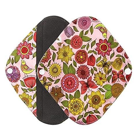 Pad culotte menstruelle, Ularma Réutilisable en bambou Charocoal lavable tampon menstruel Mama serviette hygiénique (M, Orange)