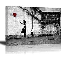 Banksy Impression sur toile de Fille avec Ballon Rouge, PIY painting Art Graffiti Décor HD Image Peinture Tableaux de la Mur Imperméable prete à poser Eco-Print Décoration Moderne pour la Salle Chamber bon Cadeau pour vos amis et familles 30x40cmx2.5cm