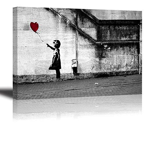 Foto de PIY Cuadro sobre lienzo Piy Banksy rojo de niña con globo Pintura Arte de la Lona Arte de La Pared Decoraciones Interiores Impermeable listo para Colgar Cuadros Sobre el Lienzo con Bastidor de Madera Gancho Colgante Para el Dormitorio Sala Comedor Cocina