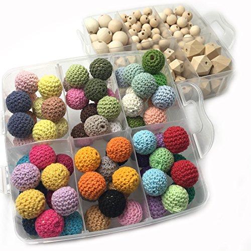 Preisvergleich Produktbild Coskiss DIY Baby Teether Spielzeug Zubehör Kit 2 Boxed Natural Runde Geometrie Hexagon Holz Perlen und 18mm (0,71 Zoll) gemischte Farbe Häkeln Perlen Mischen kreative Freiheit für Baby Zahnen Halskette Dekoration (A111+A129)