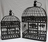 Moritz® Pflanzkäfig Käfig Dekokäfig Vogelkäfig Vogel Paar Shabby Antik Stil antik braun rechteckig VK4RH-AB (Set M und L)