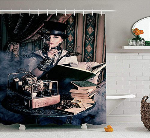 JIEKEIO Gothic Decor Shower Curtain Set, Portrait of Steampunk Woman with Medieval Vintage Style Outfit Historic Fashion Art Photo, Bathroom Accessories, 60 * 72inch Extralong, Brown Teal