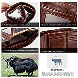 Vbiger Leder Geldbörse RFID Schutz Kreditkarten Leder Bifold Portemonnaie für Herren Leder Geldbeutel Männer Börse Portmonee - 4