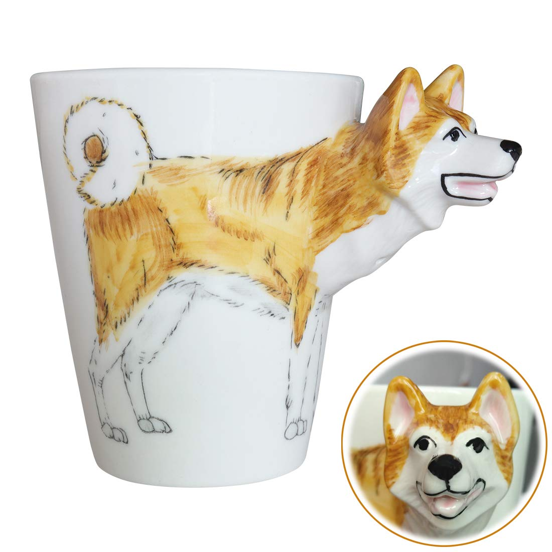 WEY&FLY 3D Coffee Pet Mug, Animals Personalized Tea Cup, Creative Hand Painted 3D Dog Mug, Gift for Lovers Kids Friends…