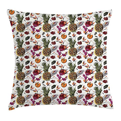 ZTLKFL Tropical Throw Pillow Cushion Cover, Pattern with Fruits Palm Leafs and Orchids Exotic Summer Jungle in Watercolors, Decorative Square Accent Pillow Case, 18 X 18 inches, Multicolor International Silver Orchid