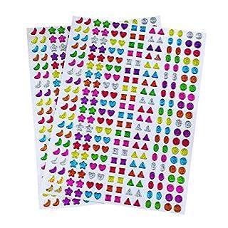 Lvcky 840 Pcs Sticker Earrings 3D Gems Sticker Girls Stick on Earrings