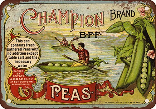 Champion Brand Peas Vintage Appearance Reproduction Metal Tin Sign 8 x 12 Inches