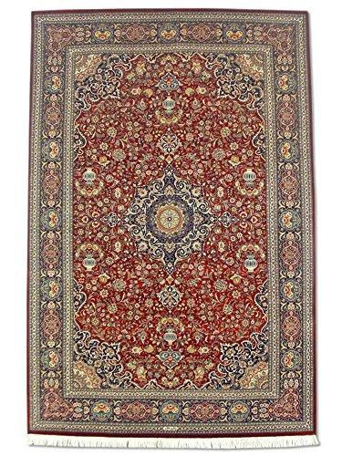 Handgeknüpfter Kashan Teppich, Rot, Wolle / Seide (Höhepunkte), 184 X 276 cm