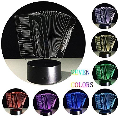 nacht - licht Nachtlicht, LED/USB, 3D Optische Täuschung Nachtlicht, Batteriebetriebene Touch, Konsole Licht, 7 Farben, Kindergeburtstag Geschenk (Akkordeon)