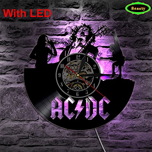 Meet Beauty ACDC Rock Band Wand Vinyl Uhr LED Wand Beleuchtung Farbwechsel Vintage LP Record Decor Handgemachte Licht Dekoration (Remote Control-bild-licht)