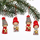 Niedliche Weihnachtswichtel als Baumbehang im 4er Set in grau/ rot mit Glöckchen