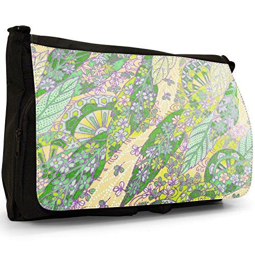 """""""Fan giapponese del Grunge"""", colore: nero, Borsa Messenger-Borsa a tracolla in tela, borsa per Laptop, scuola Nero (Lime)"""