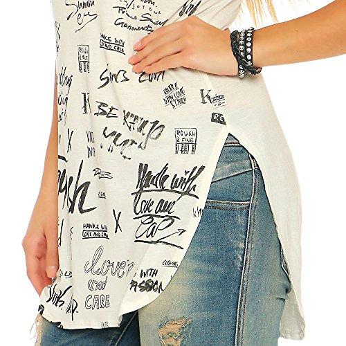 Khujo Aubrey Scribble Print Women Shirt Offwhite