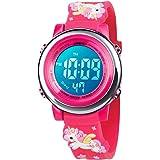 BIGMEDA Reloj Digital para Niños Niña, Luz Intermitente LED de 7 Colores Reloj de Pulsera Niña Multifunción, para Niños de 3