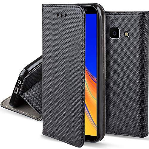 Moozy Hülle Flip Case für Samsung J4 Plus, Schwarz - Dünne Magnetische Klapphülle Handyhülle mit Standfunktion