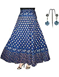 Generic Women's Cotton Jaipuri Wrap Around Skirt with Beautiful Earring Combo - Set of 2 Pieces (Blue,Free Size)