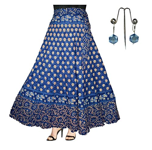 Generic Women's Cotton Jaipuri Wrap Around Skirt with Beautiful Earring Combo – Set of 2 Pieces (Blue,Free Size)