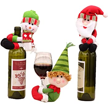 Dust Covers 1pcs Table Decorations Wine Bottle Cover Ornament Wedding Table Decorations Novelty Decoration Snowman Santa Clause Lovely Hug