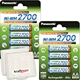 8er Pack Panasonic High Capacity 2700 NI-MH Akku BK-3HGAE - 8 Mignon AA Akkus in Akkubox