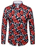 WHATLEES Herren Langarm Druckmuster Hemd - Dress Shirt mit Stehkragen und Luxus Barock Stil Rose B702-22-S