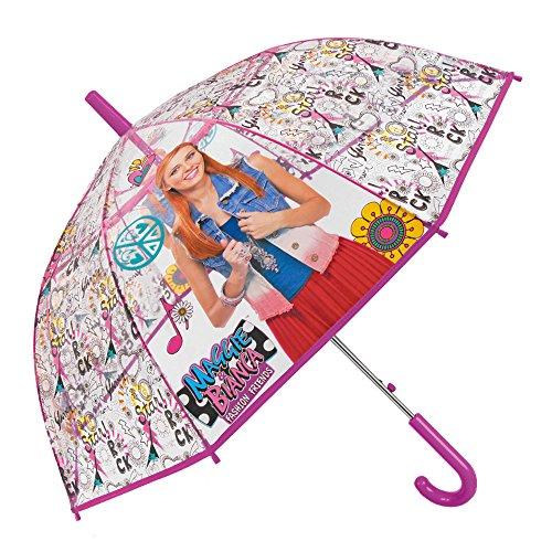 Ombrello maggie & bianca bambina - ombrello lungo cupola trasparente antivento - apertura automatica - 5/9 anni - diametro 75 cm - perletti