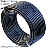 EXCOLO PE-HD Rohr Wasserrohr Wasser Leitung Kunststoffrohr Bewässerung Wasser Rohre schwarz (20mm x 100Meter)