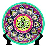 #3: Zivasa Rare Handcrafted Multicolour/Purple Rangoli Design Ceramic Decorative Plate/Platter with Stand