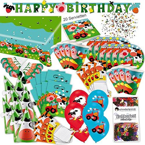 Amscan Bauernhof Farm Tiere Kleinkind Party Set XL 86-teilig für 8 Gäste Bauernhofparty Deko Partypaket