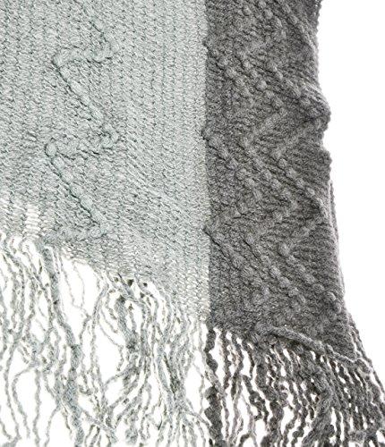 ZLYC poncho à franges contrastées pour femmes, basique doux et léger à mailles texturées, couverture, écharpe, châle, blanket wrap Gris