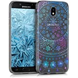 kwmobile Hülle für Samsung Galaxy J7 (2017) DUOS - TPU Silikon Backcover Case Handy Schutzhülle - Cover klar Arktische Schneeflocke Design Blau Pink Transparent