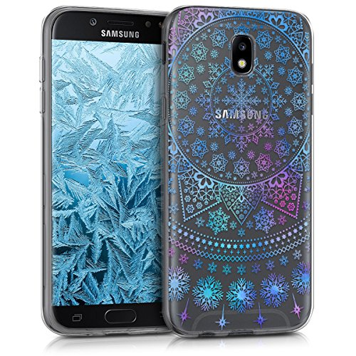 kwmobile Samsung Galaxy J7 (2017) DUOS Hülle - Handyhülle für Samsung Galaxy J7 (2017) DUOS - Handy Case in Blau Pink Transparent