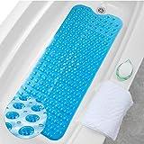 HALOVIE Alfombrillas de Baño Extra Largas Alfombra Antideslizante para Bañera Resistentes al Moho Tapete PVC con 200 Ventosas