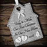 Multi-Colour Personalised First 1st Christmas in Your/Our New Home Bauble tree decoration wooden house hanging ornament keepsake gift for couple or family (Silver #1)