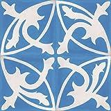 4 Zementfliesen Mondial hellblau - Handarbeit - Jugendstil Fliesen Küchendekor