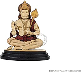 Pleasantino - Car Dashboard / Desktop Statue Religious Hindu God Hanuman Wood Carved figurine Size - 3.25""