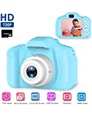 Kids Digital Camera, Womdee Mini 2.0 Inch Color IPS Screen 8MP Kid Video Camera, HD Video Recorder 1080P with Anti-Drop Silicone Shell Support 32GB SD Card for Boys Girls Gift