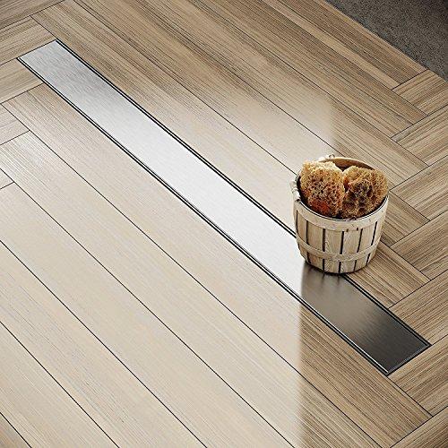 Fuß Dusche Montage (Edelstahl Duschrinne NORDONA® Complete Basic mit Haarsieb | Länge: 90 cm | Inkl. Blende