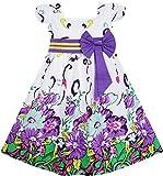 FA14 Sunny Fashion - Vestito floreale, bambina, viola 7-8 anni