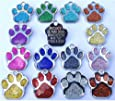 Personalised Engraved ID Pet Tags Glitter Paw Design Quality 27mm Dog Tags