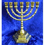 12 Tribes of Israel Jerusalem Temple Menorah choose from 3 Sizes Gold or Silver (Gold, 5 Inches) by Shofars From Afar