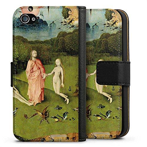 Apple iPhone X Silikon Hülle Case Schutzhülle Der Garten Eden Adam und Eva Kunst Sideflip Tasche schwarz
