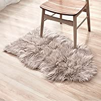 LIVEBOX Sheepskin rug, Decorative Luxury Faux Sheepskin Seat Cover Chair Pad Plain Shaggy Wool Natural Supersoft Trow Floor Mat Extra Long Pile Carpet Area Cream Rugs