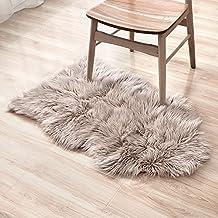 LIVEBOX decorativo Lujo sintética piel de cordero funda de asiento silla Pad Plain Shaggy alfombra de lana natural para suelo Supersoft Trow Extra largo Alfombras de pelo área Rugs–Alfombra, color marfil, marrón claro, 60 x 100 cm