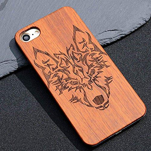 Vero legno Hard Back Wood Custodie per iPhone 7, Skitic Ultra Sottile Case Copertura con Carvings Pattern Design Protettiva Copertina Cover Telefono Pelle Protezione Bumper per iPhone 7 - Lupo Lupo