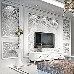 3D Diseño de Damasco Papel pintado, 10 x 0.53m Vintage Pegatinas de Pared, PVC Resistente a agua, Plata