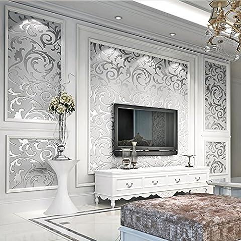 ARUHE® más nuevo minimalismo europeo hojas Papel pintado de plata 55 * 8 * 8 cm La mejor decoración para establecer el fondo de pantalla de estar / dormitorio /