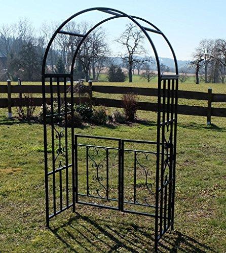 floristikvergleich.de Eleganter Rosenbogen Rankhilfe mit Tür Gartentür Gartentor aus Metall schwarz Mod. 5044-G von AS-S